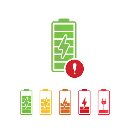 Battery icon with exclamation mark. Battery icon and alert, error, alarm, danger symbol. Vector icon  イラスト・ベクター素材