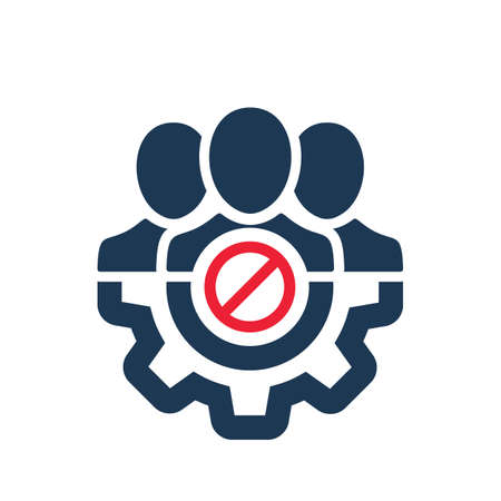 Management icon with not allowed sign. Management icon and block, forbidden, prohibit symbol. Vector icon