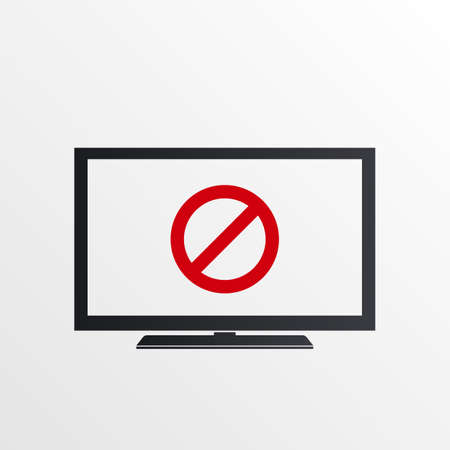 TV icon with not allowed sign. TV icon and block, forbidden, prohibit symbol. Vector icon