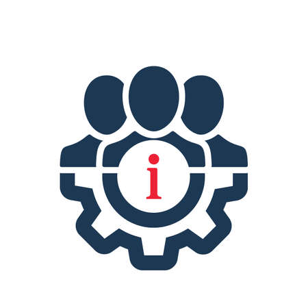 Management icon with information sign. Management icon and about, faq, help, hint symbol. Vector icon