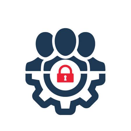 Icono de gestión con signo de candado. Icono de gestión y seguridad, protección, símbolo de privacidad. Icono del vector