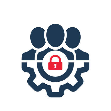 Management icon with padlock sign. Management icon and security, protection, privacy symbol. Vector icon