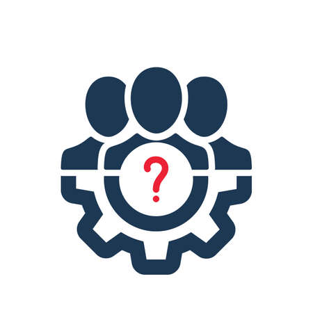 Management icon with question mark. Management icon and help, how to, info, query symbol. Vector icon