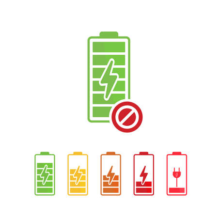 Battery icon with not allowed sign. Battery icon and block, forbidden, prohibit symbol. Vector icon Ilustrace