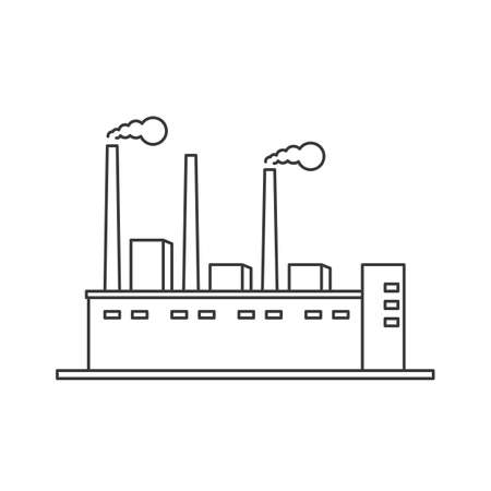 Factory icon line vector on a white background