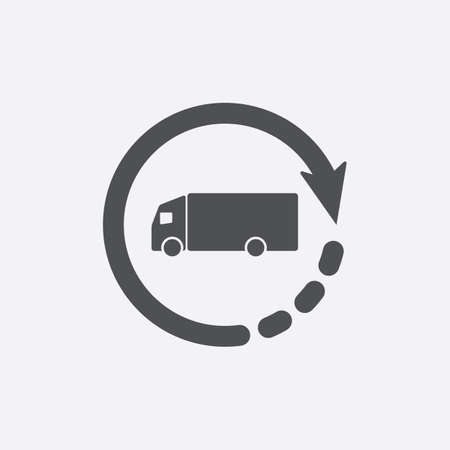 Delivery truck icon vector symbol, fast shipping cargo van. Timely delivery concept, truck and clock, order shipping on time, fast distribution services, shipment delay vector icon