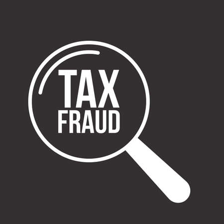 Tax Fraud Word in Magnifying Glass illustration.
