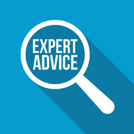 Expert Advice Word Magnifying Glass. Vector illustration