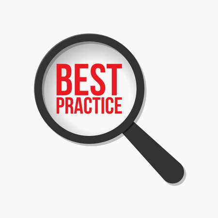 Best Practice Word Magnifying Glass. Vector illustration 일러스트