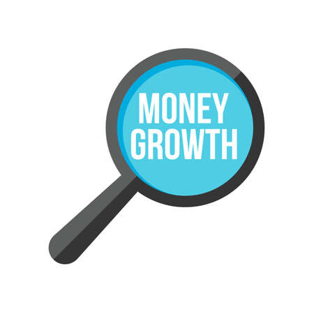 Money Growth Word Magnifying Glass. Vector illustration