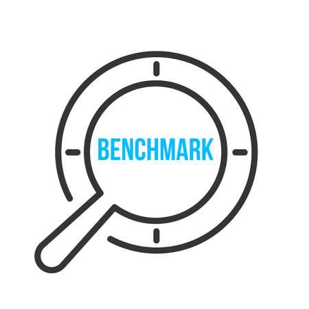Benchmark Word Magnifying Glass. Vector illustration