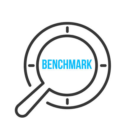 Benchmark Word Magnifying Glass. Vector illustration