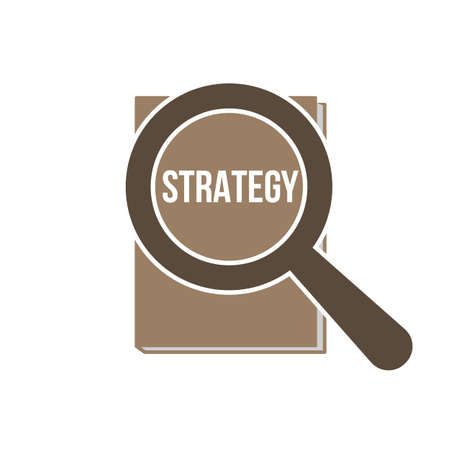 Strategy Word Magnifying Glass. Vector illustration