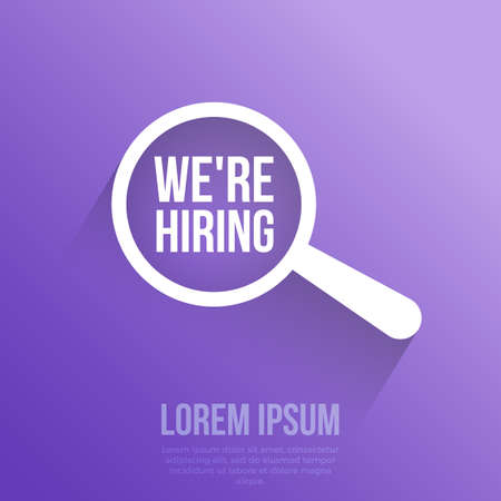We're Hiring Word Magnifying Glass. Vector illustration.