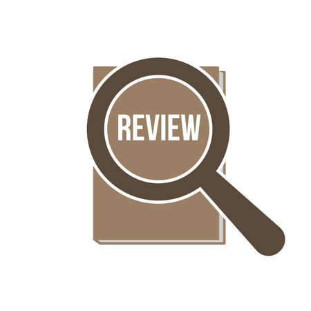 Review Word with Magnifying Glass. Vector illustration. Stock Illustratie