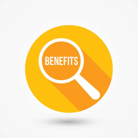 Benefits Word Magnifying Glass Vector illustration