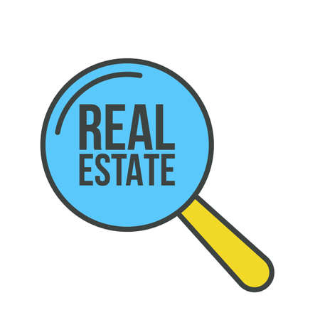Real Estate Word Magnifying Glass. Vector illustration