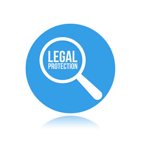 Legal Protection Word Magnifying Glass. Vector illustration