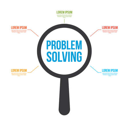 Problem Solving Word Magnifying Glass. Vector illustration