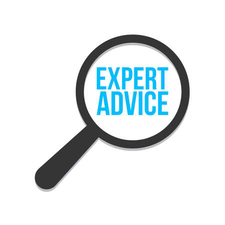 Expert Advice Word Magnifying Glass. Vector illustration Imagens - 98660895