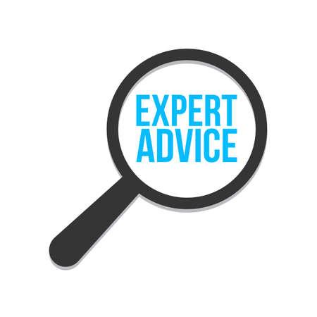 Expert Advice Word Magnifying Glass. Vector illustration Stok Fotoğraf - 98660895