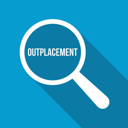 Outplacement Word on Magnifying Glass Vector illustration