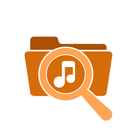 Music Icon on Magnifying Glass Vector illustration