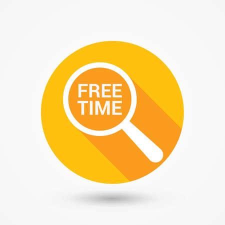 Concepto de tiempo: lupa óptica con palabras tiempo libre. Ilustración vectorial Ilustración de vector