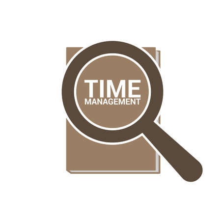 Timeline Concept of Magnifying Optical Glass With Words Time Management. Vector illustration