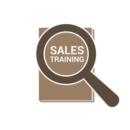 Advertising Concept: Magnifying Optical Glass With Words Sales Training. Vector illustration
