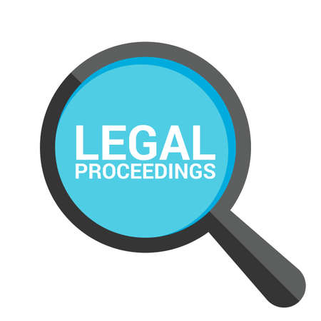Law Concept: Magnifying Optical Glass With Words Legal Proceedings. Vector illustration
