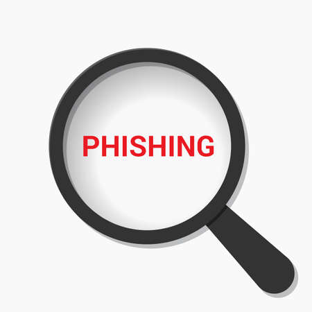 Security Concept: Magnifying Optical Glass With Words Phishing. Vector illustration