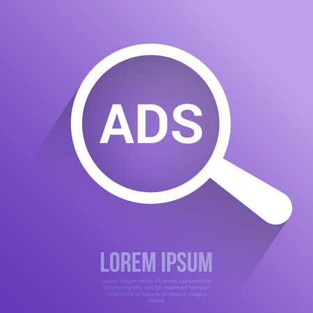 Marketing Concept: Magnifying Optical Glass With Words Ads. Vector illustration