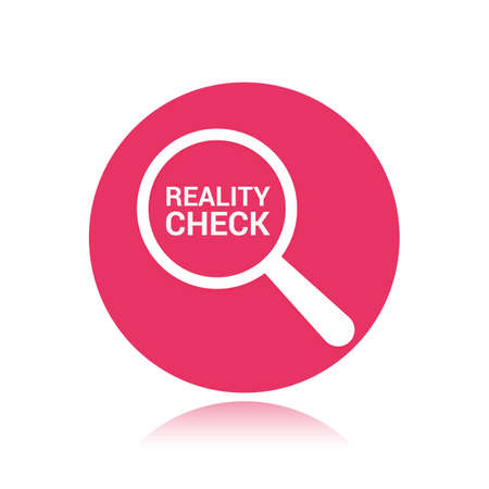 Magnifying Optical Glass With Words Reality Check Vector illustration