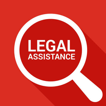 Law Concept: Magnifying Optical Glass With Words Legal Assistance. Vector illustration