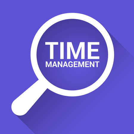 Timeline Concept: Magnifying Optical Glass With Words Time Management. Vector illustration