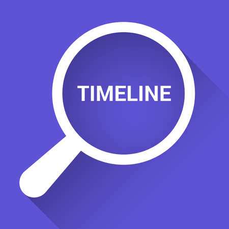 Timeline Concept: Magnifying Optical Glass With Words Timeline. Vector illustration Illustration