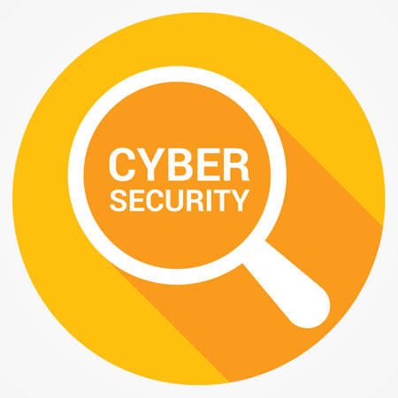Protection Concept: Magnifying Optical Glass With Words Cyber Security. Vector illustration