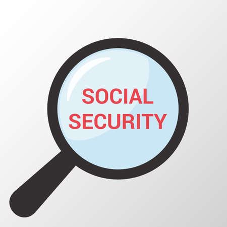 Privacy Concept: Magnifying Optical Glass With Words Social Security. Vector illustration.