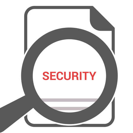 Security Concept: Magnifying Optical Glass With Words Security. Vector illustration