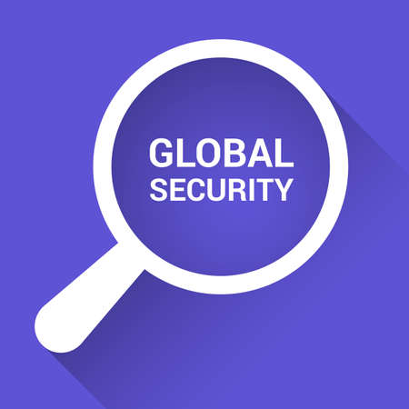 Security Concept: Magnifying Optical Glass With Words Global Security. Vector illustration