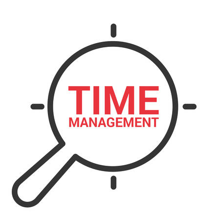 Timeline Concept: Magnifying Optical Glass With Words Time Management. Vector illustration Stock Vector - 100148941