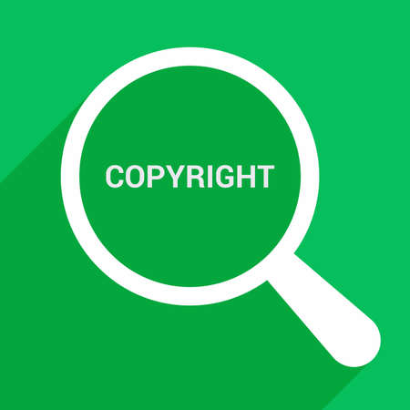 Law Concept: Magnifying Optical Glass With Words Copyright. Vector illustration Vettoriali