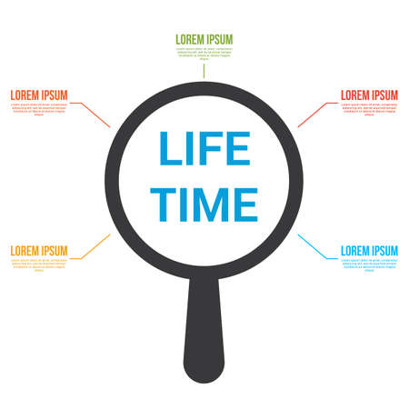 Time Concept: Magnifying Optical Glass With Words Life Time. Vector illustration Stock Vector - 100148947