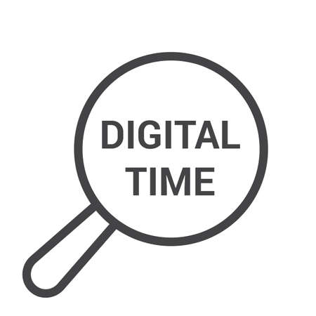 Timeline Concept: Magnifying Optical Glass With Words Digital Time. Vector illustration