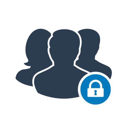Icône de l'équipe avec signe de cadenas. Icône de l'équipe et sécurité, protection, symbole de confidentialité. Illustration vectorielle