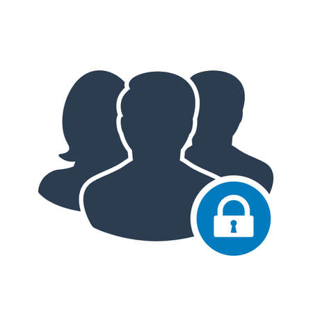 Team icon with padlock sign. Team icon and security, protection, privacy symbol. Vector illustration Çizim