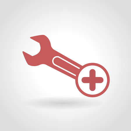 Spanner icon with add sign. Spanner icon and new, plus, positive symbol. Vector illustration