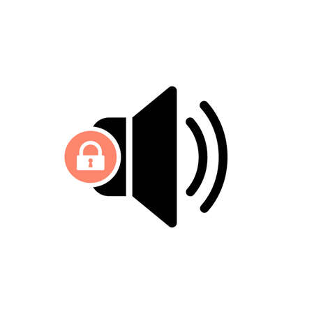 Speaker icon with padlock sign. Speaker icon and security, protection, privacy symbol. Vector illustration