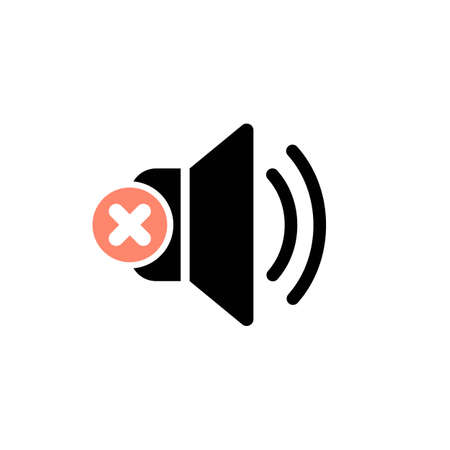 Speaker icon with cancel sign. Speaker icon and close, delete, remove symbol. Vector illustration